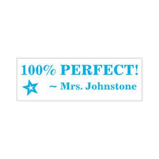 "Fun ""100% PERFECT!"" + Teacher's Name Rubber Stamp"