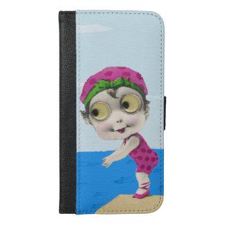 Fun 1920s Swimmer Girl Big Eyes Pink