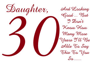 Fun 30th Birthday Daughter Red And White Text Card