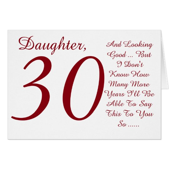 Fun, 30th birthday, daughter, red and white text.