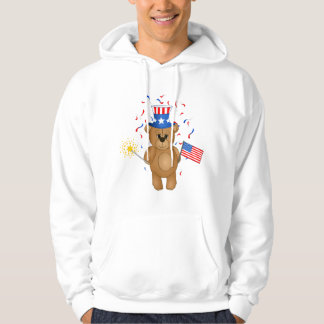 Fun 4th July Independence Day Cute Teddy Bear Hoodie
