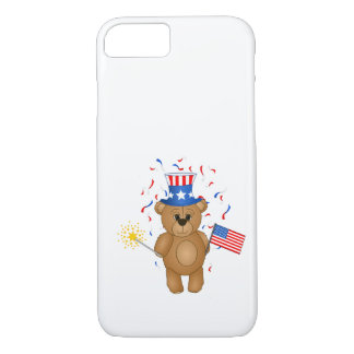 Fun 4th July Independence Day Cute Teddy Bear iPhone 7 Case