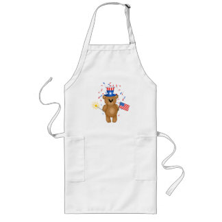 Fun 4th July Independence Day Cute Teddy Bear Long Apron