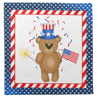Fun 4th July Independence Day Cute Teddy Bear Napkin