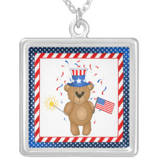 Fun 4th July Independence Day Cute Teddy Bear Jewelry