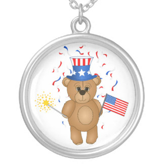 Fun 4th July Independence Day Cute Teddy Bear Necklace