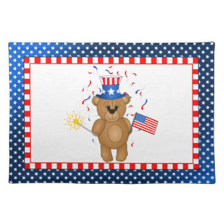 Fun 4th July Independence Day Cute Teddy Bear Placemat