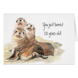 """Fun 50th Birthday """"Don't grow up """" Cute Seals Card"""
