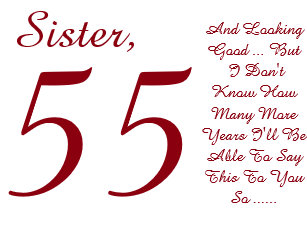 Fun 55th Birthday For Sister Red And White Text Card