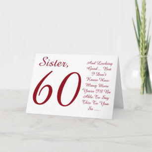 Fun 60th Birthday For Sister Red And White Text Card