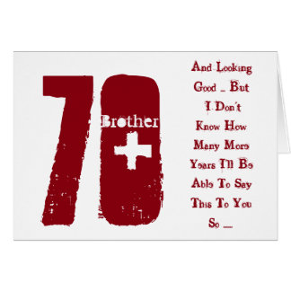 Fun, 70th birthday, brother, red and white text. card