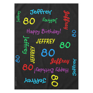 FUN 80th Birthday Party, Repeating Names Black Tablecloth