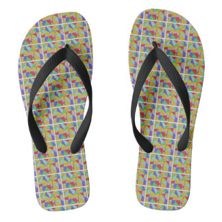 Fun Abstract Geometric Design Flip Flops