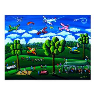 Fun Aeroplanes Colour Whimsical Folk Art Post Card