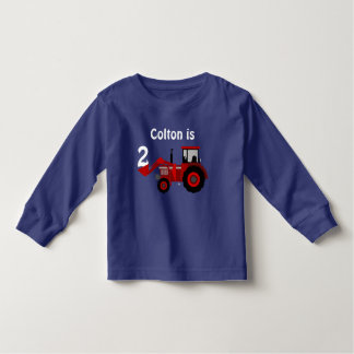 "Fun ""Age"" and ""Name"" Red Tractor Birthday Toddler T-Shirt"