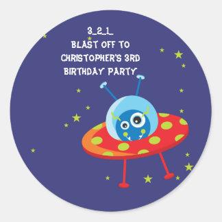 Fun alien ufo spaceship boy birthday party sticker