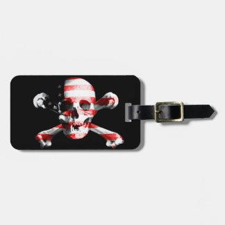 Fun American Pirate Skull Custom Name and Address Luggage Tag
