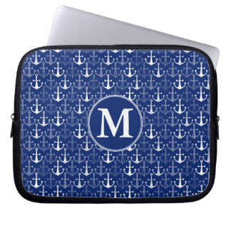 Fun Anchor Pattern   Add Your Initial Laptop Sleeve