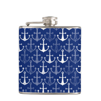 Fun Anchor Pattern Hip Flask