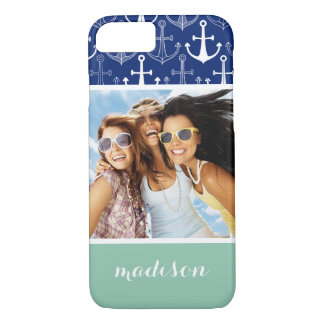 Fun Anchor Pattern | Your Photo & Name iPhone 8/7 Case