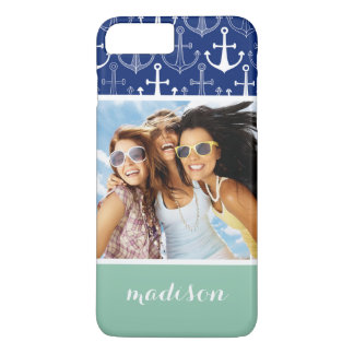 Fun Anchor Pattern | Your Photo & Name iPhone 8 Plus/7 Plus Case