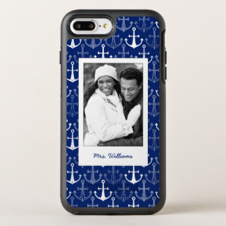 Fun Anchor Pattern | Your Photo & Name OtterBox Symmetry iPhone 8 Plus/7 Plus Case