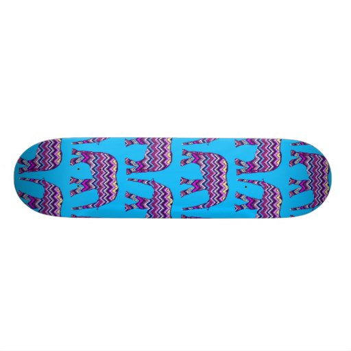 Fun and Bold Chevron Elephants on Teal Skate Boards