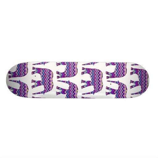 Fun and Bold Chevron Elephants on White Skate Decks
