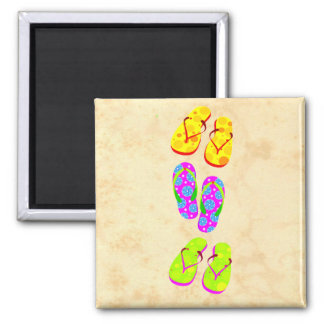 Fun and Colorful Flip Flops Square Magnet