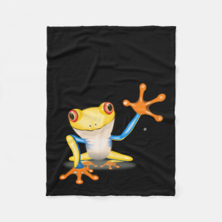 Fun and Colorful Red Eyed Tree Frog Fleece Blanket