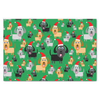 Fun and Cute Puppy Dogs in Santa Hats Tissue Paper