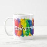 Fun and Cute Rainbow of Colours Personalised Basic White Mug