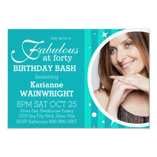 Fun and Fabulous Photo 40th Birthday Party Card