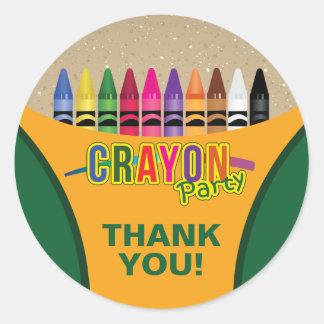 Fun and Festive Crayon Classic Round Sticker