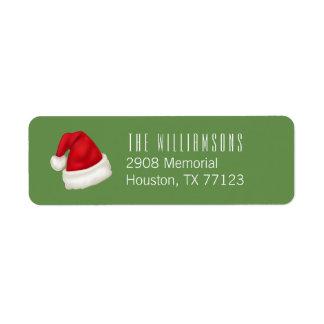 Fun and Festive Custom Santa Hat on Green Return Address Label