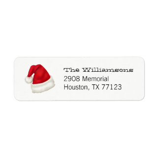Fun and Festive Custom Santa Hat on White Return Address Label