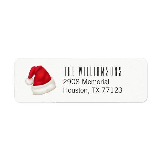 Fun and Festive Custom Santa Hat on White Return Address Label