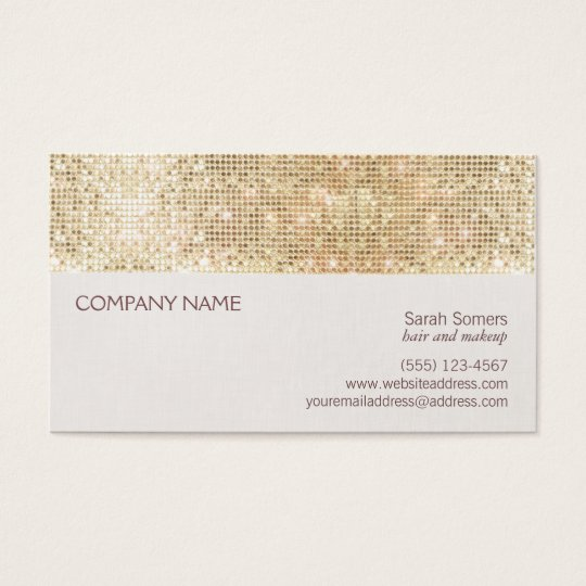 Fun and Festive Girly Gold Sparkly Sequin Business