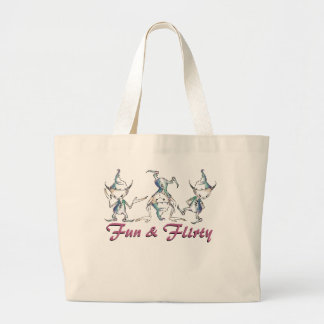 Fun and Flirty Crazy Goblins / Pixies Large Tote Bag