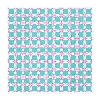 Fun and Fresh Teal Circles and Pink Flowers Stretched Canvas Prints