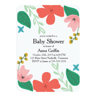Fun and Funky Floral Baby Shower Invitation