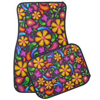 Fun and Groovy Floral Design Car Mat
