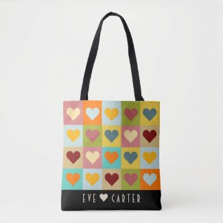 Fun and Stylish Multi-colour Hearts Tote Bag