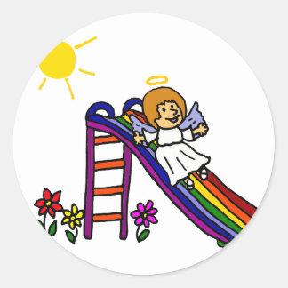 Fun Angel on Rainbow Slide Round Sticker