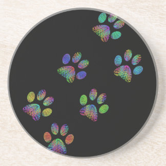 Fun animal paw prints. sandstone coaster