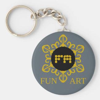fun art basic round button key ring