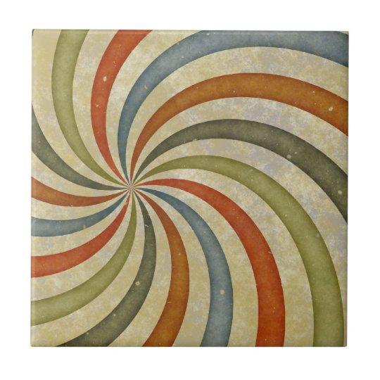 Fun Art Deco Colourful Swirl Tile
