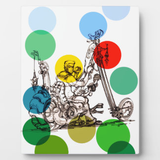 Fun Art Drawing of a Fantasy Motorcycle Man Display Plaques