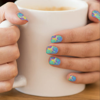 Fun Art Purple Aqua Blue Yellow Bubbles Design Minx Nail Art