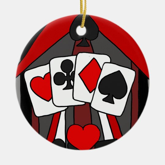 Fun Artistic Playing Cards Abstract Art Christmas Ornament